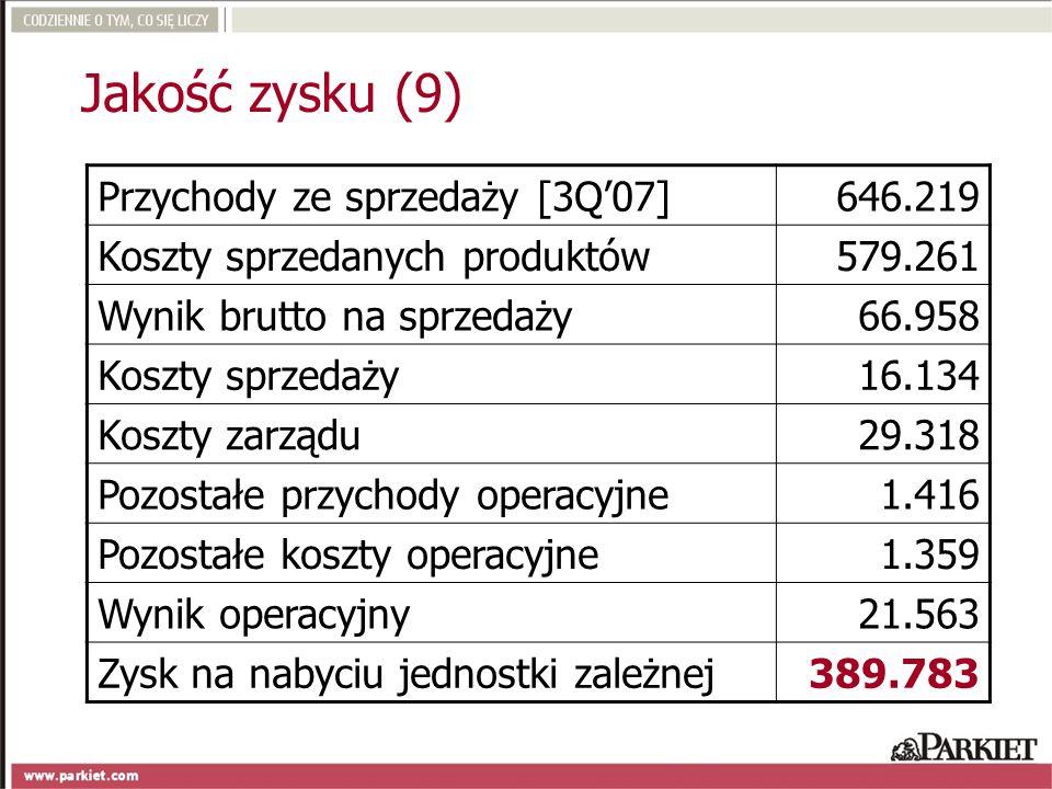 Jakość zysku (9) Przychody ze sprzedaży [3Q'07] 646.219